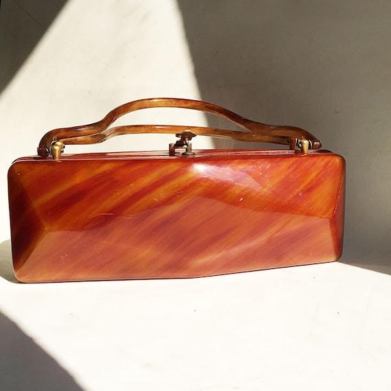 Vintage Lucite Brown Handbag