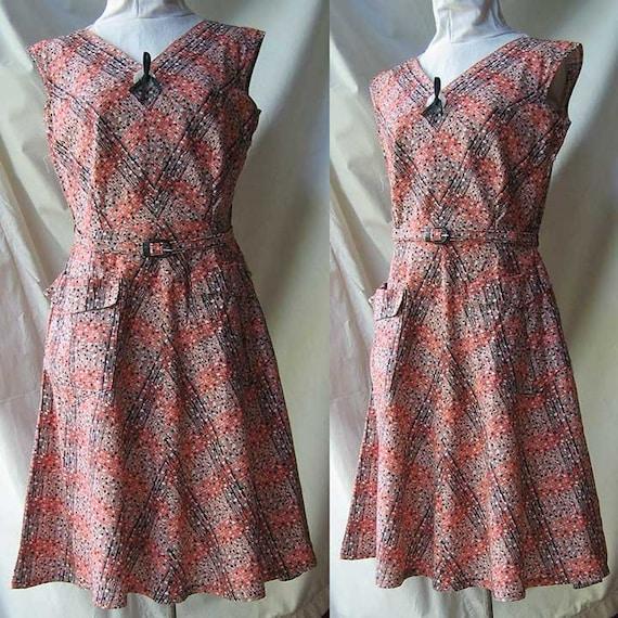 Cotton Print Dress with Big Button