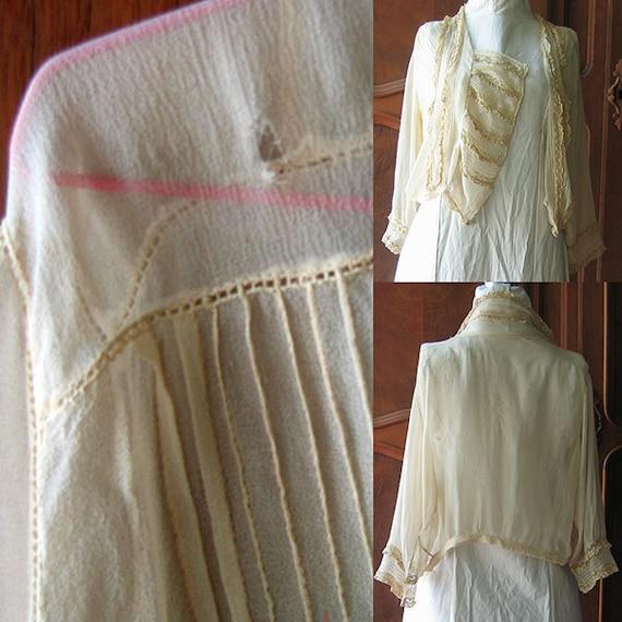 Antique Blouse Chiffon and Lace - image 9