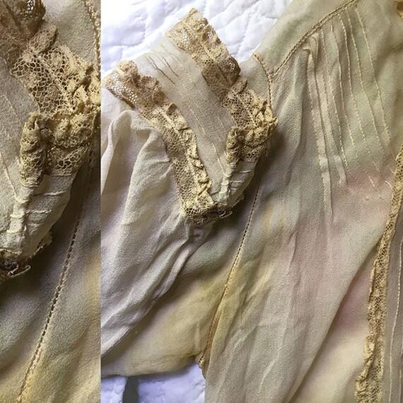 Antique Blouse Chiffon and Lace - image 7