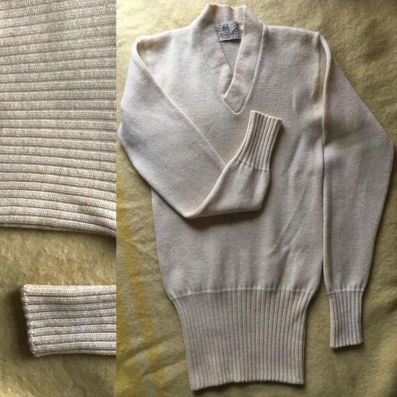 Vintage White Varsity Style Sweater