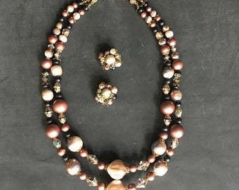 Double Strand Necklace with Matching Clip On Earrings