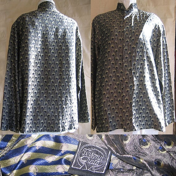 Peacock Feather Print Shirt 1980's Paris