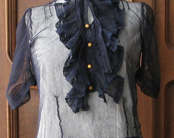 Net Blouse with Ruffle