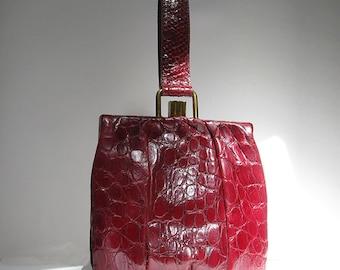 Red Alligator Bag with Lizard Wrist Handle