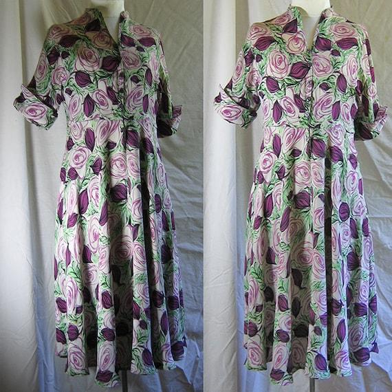 Vintage Rayon Rose Print Dress