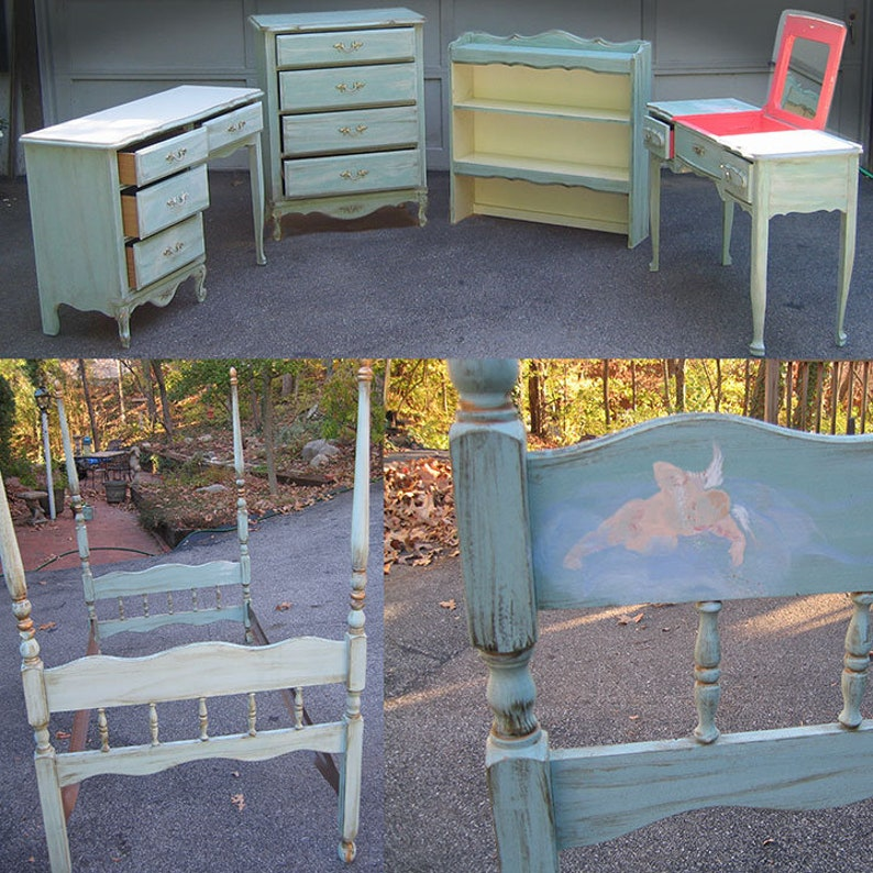 Super Five Piece Hand Painted Bedroom Set Twin Size Canopy Bed Home Interior And Landscaping Ferensignezvosmurscom