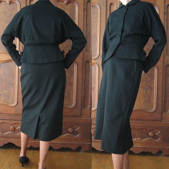 Ladies Black 2 Piece Wool Suit By Kennie