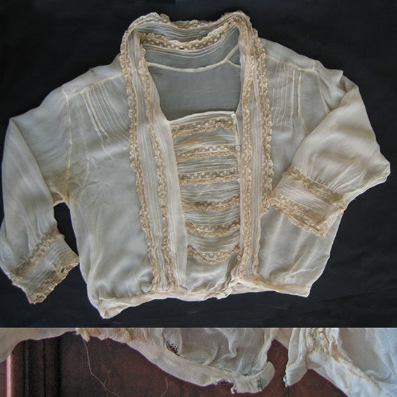 Antique Blouse Chiffon and Lace - image 4