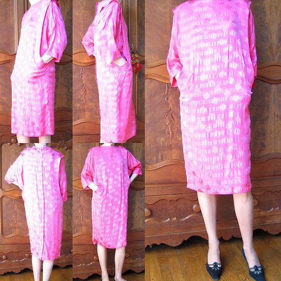 Vintage 1980's Pink Silk Dress
