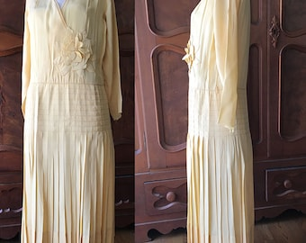 Yellow Silk Dress with Large Flower has Damage