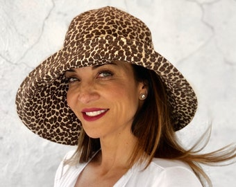ba0d958c2c01f Leopard Print Wide Brim Linen Hat for Women - Handmade in the USA
