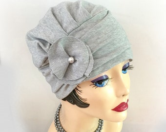 Flapper Turban - Jersey Cloche - Soft Chemo Hat - Chemo Turban - Soft Knit  Hat - Flapper Cloche - Feminine Hat - Evie - Handmade in the USA c525d879026
