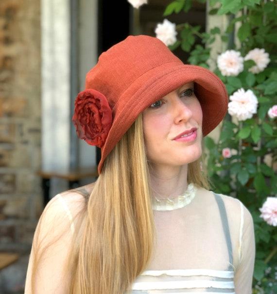 6214b2cff80e23 Women's Terracotta Color Linen Cloche 1920s Style with | Etsy
