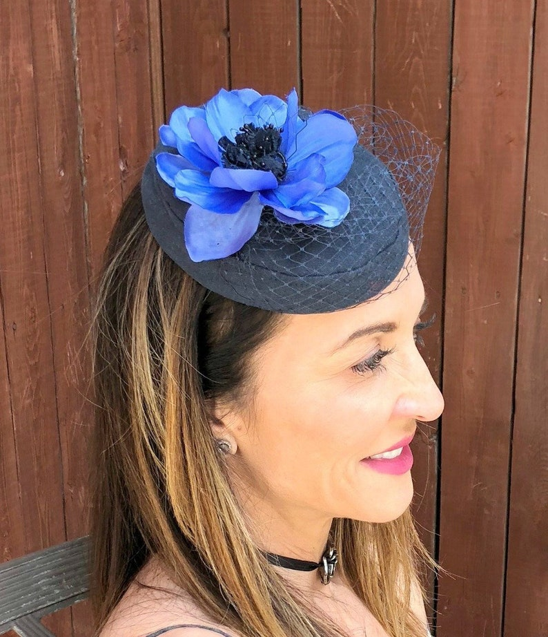 721e45d23 Navy Blue Linen Pillbox Hat with Periwinkle Flower Accent and | Etsy