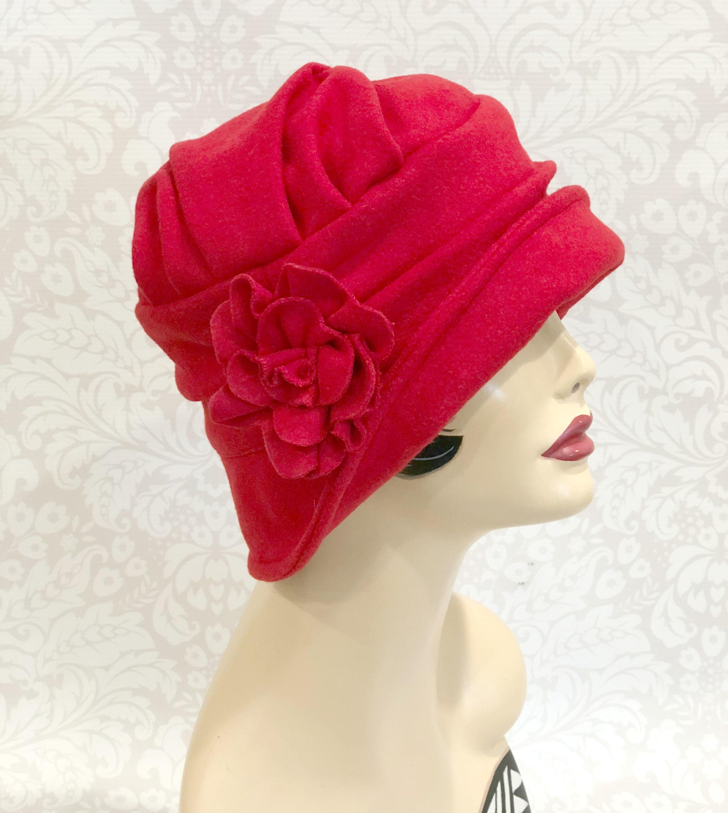 5bd543181ebc0 Red Wool Cloche 1920s Cloche Downton Abbey Cloche