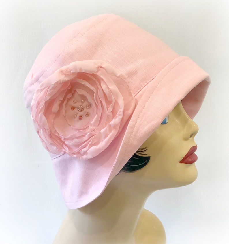 45bcf5bc074f0 Womens Summer Cloche Hat in Pale Pink Linen with Chiffon Rose | Etsy