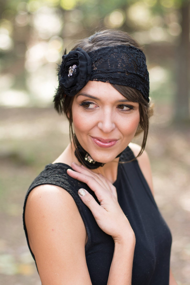 24cf9561089db Roaring 20 s Lace Flapper Headband Chiffon Rose with