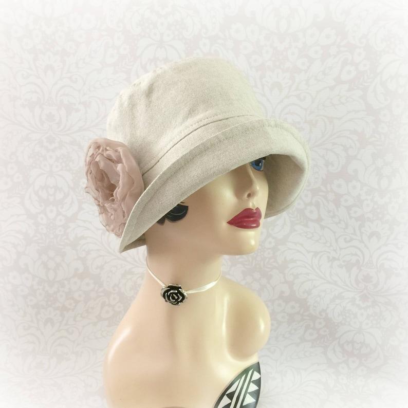 b957bafa8bc32e Womens Linen Hat Summer Cloche Hat Linen Sun Hats Cloche | Etsy
