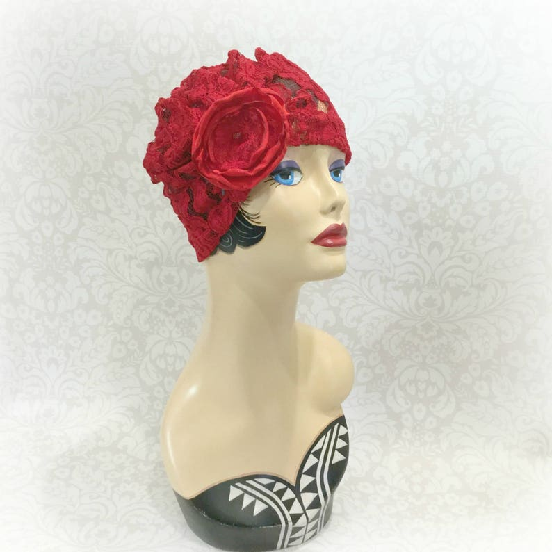 Handmade in the USA 1920/'s Red Lace  Turban with Red Rose Size Large Ready to Ship
