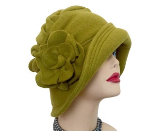 Cloche Hat, Olive Green, Winter Hat Women, Fleece Hat, Elegant Chemo Hat, Downton Abbey Style, Handmade in USA, Anniversary Gift for Wife