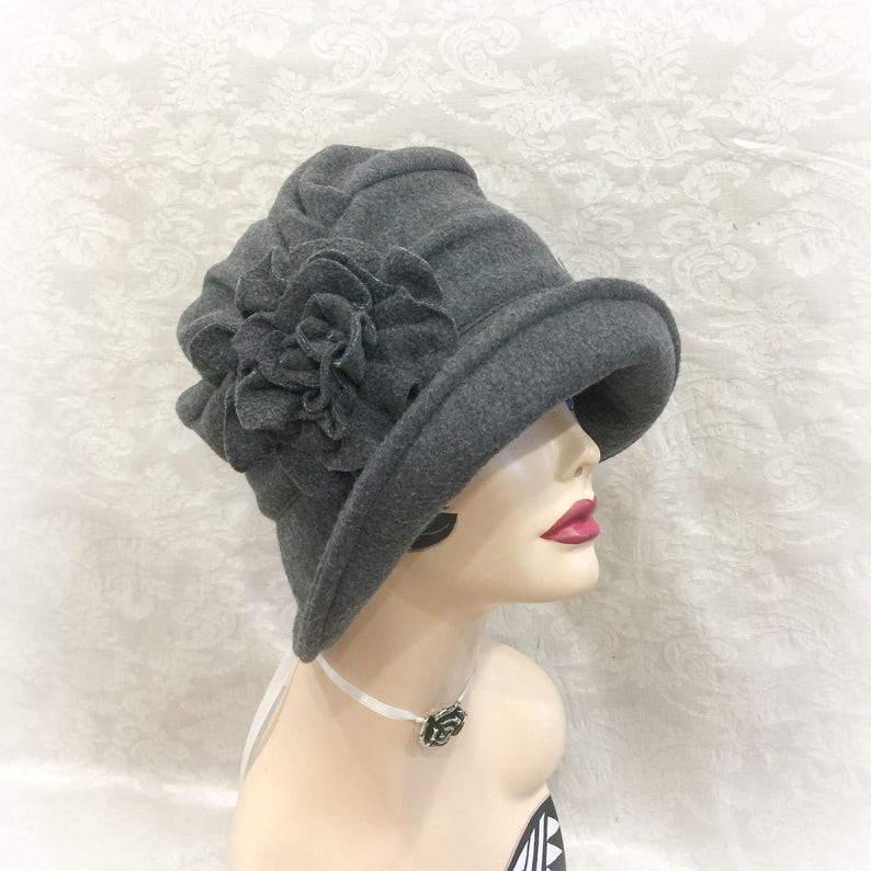 7cef8868d0771 Womens Fleece Hat - Downton Abbey Hat - Formal Fleece Hats - Winter Hats -  Warm Fleece Hat - Womens Hats - Flapper Cloche ...