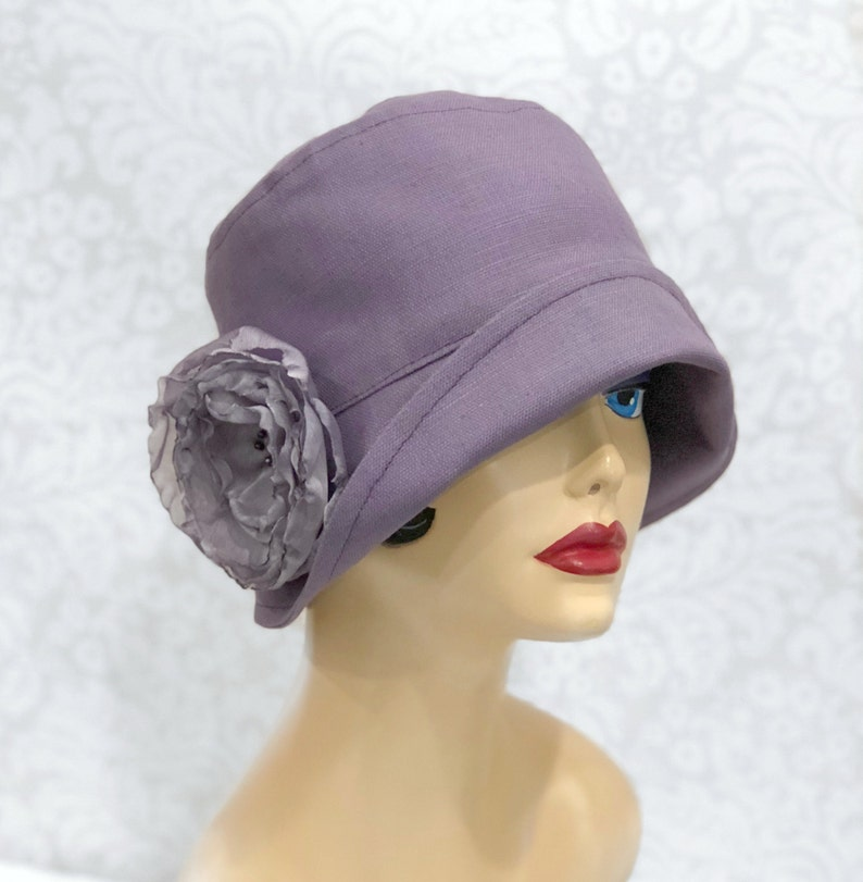f96add61357d3 Linen Downton Abbey Style Cloche with Chiffon Rose Brooch image ...