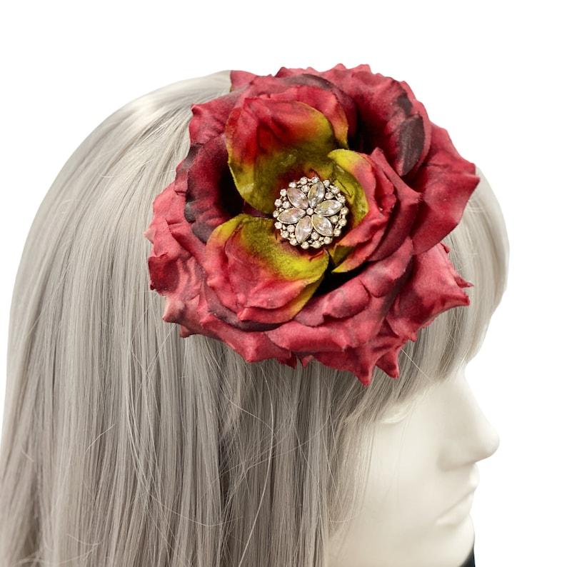 Garden Party Wedding Hat Flower Fascinator Large Red Rose Rhinestone Flower Headband Handmade Tea Party Hat