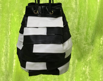 Black and White Leather Bag - One of a Kind - By Kathryn Laibson