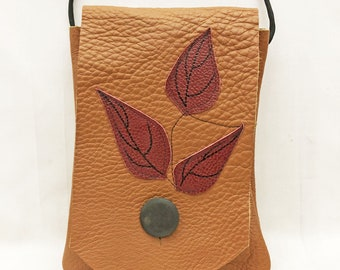 Crossbody Leather Bag - Handmade - One of a Kind - Lightweight - Leaf Applique