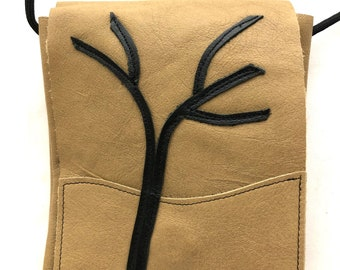 Tan Leather Bag with Tree Applique - Crossbody - Shoulder - One of a Kind - Inner Pocker - Snap Closure