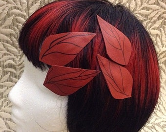 Hair Clips - Red Leather Leaf Snap Clips - 4