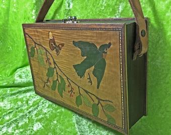Vintage Handbag - Wooden Bag -  Inlaied Wooden Bag with Leather Handle