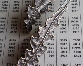 Vintage Brass Leaf Earrings, Symmetrical Modern Contemporary Old World Classic Heirloom Artisan Handmade Metalsmith Earrings For Fall