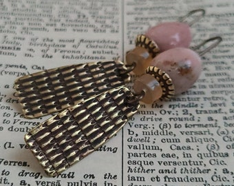 Brass, Peruvian Opal & Agate Dangle Earrings, Pink Peach Gemstone Sculptural Hand Wrought Textured Metalwork Artisan Jewelry For Spring OOAK