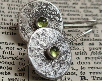 Raw Silver & Peridot Earrings, Spring Green Stone Organic Sterling Silver Primitive Textural Metalwork Rustic Round Silversmith Earring OOAK