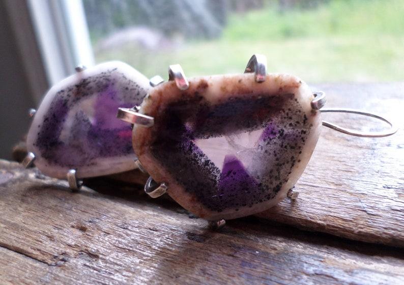 Sterling Silver & Raw Amethyst Geode Earrings Purple Crystal image 0