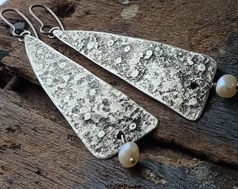 Sterling Silver & Freshwater Pearl Dangle Earrings, Organic Textural Raw Silver Sculptural Archaeological Metalsmith Dangle Earrings, OOAK