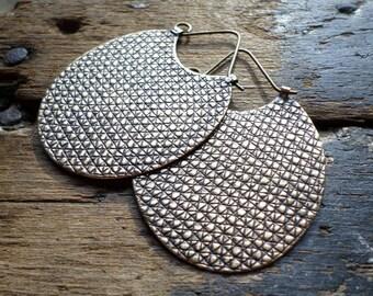 Bronze Hoop Earrings, Large Textural Modern Contemporary Sculptural Urban Handwrought Hoops, Bold Metalsmith Artisan Hoops, Lisa Flanders
