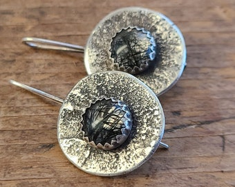 Sterling Silver & Tourmalinated Quartz Earrings, Primitive Organic Textural Raw Silver Sculptural Handwrought Silversmith Jewelry OOAK
