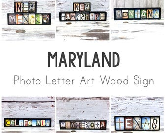 Maryland Art - Maryland Wood Sign, Maryland Map, Map Art, Gifts for Travelers, Travel Gift, Maryland Decor, Baltimore, Germantown State Name