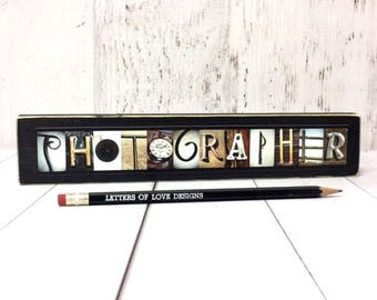 Photographer Gift, Photography Wood Sign, Gifts for Photographer, Digital Camera Art, Photo Shoot Prop, Letter Pictures Alphabet Photography