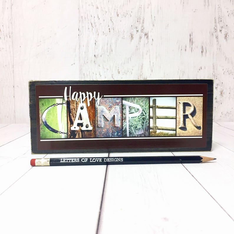 Happy Camper Sign Camping Signs Camper Gifts Gifts for Him image 0