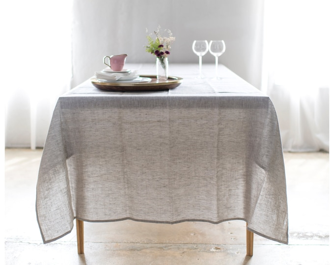 Bohemian Linen Tablecloth- Natural Linen -  Linen Table cloth - Square and rectangle shape - Free Shipping to USA