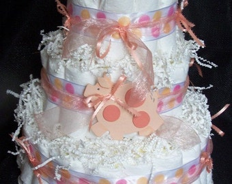 Sweet Piggy Diaper Cake, 3 Tier, Pig Diaper Cake, Pink Diaper Cake, Girl Diaper Cake, Baby Shower Diaper Cake, Baby Shower Gift