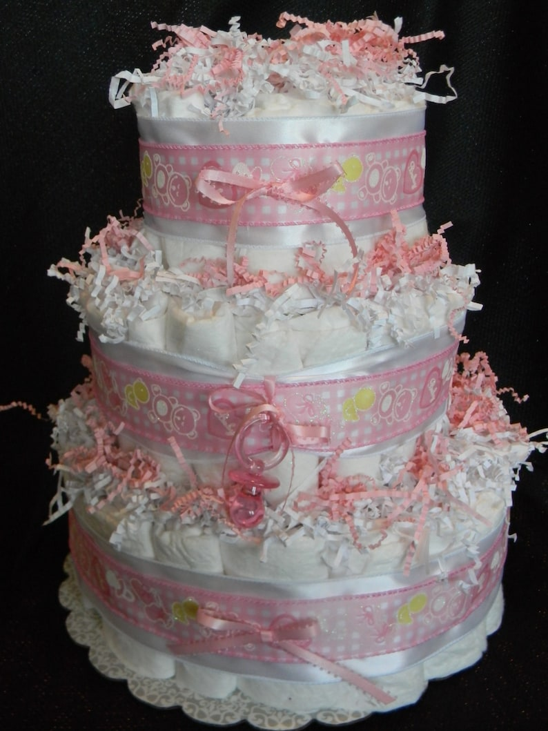 Its A Girl Diaper Cake 3 Tier Pink Diaper Cake Girl Diaper Etsy