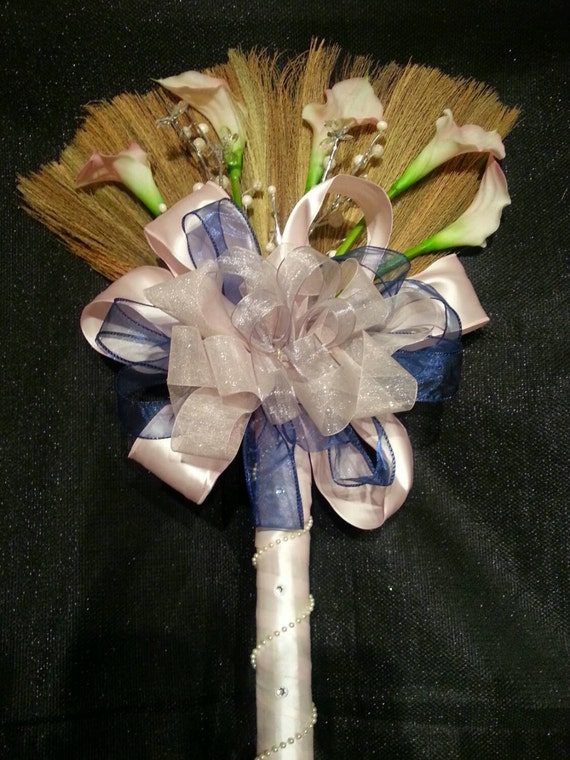 Blushing Bride Wedding Broom With Blush Pink Calla Lillies And Etsy