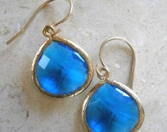 Royal Blue Earrings, Gold Earrings, Royal Blue Wedding, Bridal Jewelry, Bridesmaid Earrings, Best Friend, Birthday