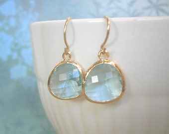 Aquamarine Earring, Gold Earrings, Bridal Jewelry, Best Friend, Bridesmaid Earrings, Wedding Jewelry, Wife, Girlfriend, Sister, Mother