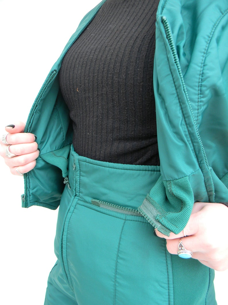 Vintage Sportscaster Retro 3 piece snow suit ski suit green vest pants coat womens XS 80/'s ski Gaper day